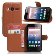 Bruin Litchi Bookcase Hoesje Alcatel One Touch Pixi 4 4