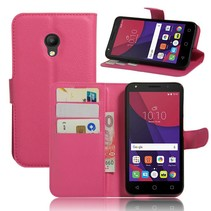 Roze Litchi Bookcase Hoesje Alcatel Pixi 4 (5)