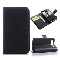 Zwarte lychee Bookcase hoes Blackberry Classic