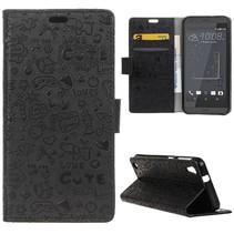 Zwart Figuurtjes Bookcase Hoesje HTC Desire 530