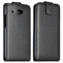 Zwart lederen Flip Case hoesje HTC Desire 601
