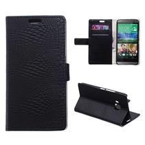 Zwarte krokodillen Bookcase hoes HTC One M9