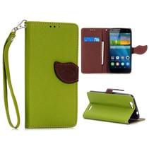 Groene leaf Bookcase hoes Huawei Ascend G7