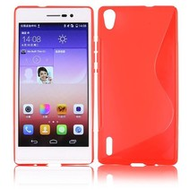 Rood S-design TPU hoesje Huawei Ascend P7