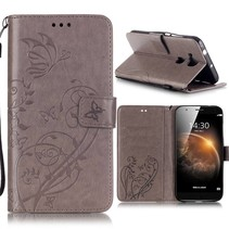 Grijs / Bruin Bloem en Vlinder Bookcase Hoesje Huawei G8