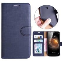 Blauw Gestreept Patroon Bookcase Hoesje Huawei G8