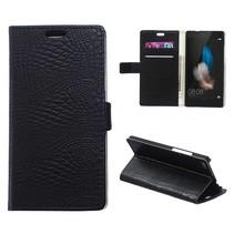 Zwarte krokodillen Bookcase hoes Huawei P8