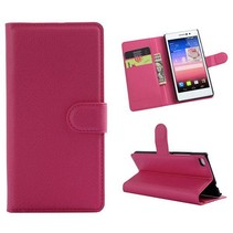 Roze lychee Bookcase hoes Huawei P8