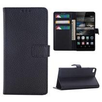 Zwart lychee Bookcase hoesje Huawei P8