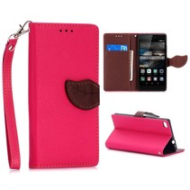 Roze leaf Bookcase hoes Huawei P8