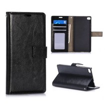 Zwart glad Bookcase hoesje Huawei P8