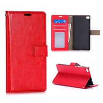 Rood glad Bookcase hoesje Huawei P8