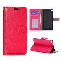 Roze glad Bookcase hoesje Huawei P8