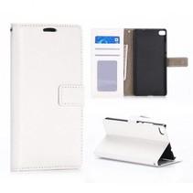 Wit glad Bookcase hoesje Huawei P8