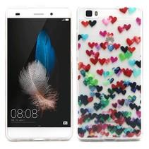 Kleurrijke hartjes TPU hoesje Huawei P8 Lite