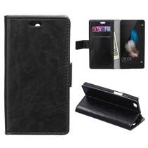 Zwarte glad Bookcase hoes Huawei P8 Lite