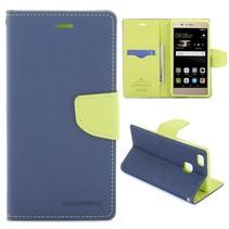 Diary Blauw Bookcase Hoesje Huawei P9 Lite