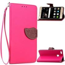 Roze Blad Design Bookcase Hoesje Huawei P9 Lite