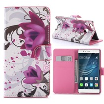 Paarse Bloe Bookcase Hoesje Huawei P9 Lite