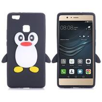 Zwart Pinguin Siliconen Hoesje Huawei P9 Lite