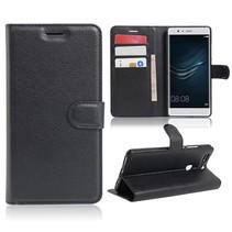 Zwart Litchi Bookcase Hoesje Huawei P9 Plus