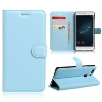 Blauw Litchi Bookcase Hoesje Huawei P9 Plus