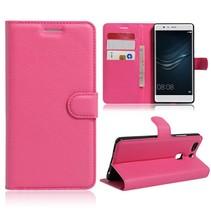 Roze Litchi Bookcase Hoesje Huawei P9 Plus