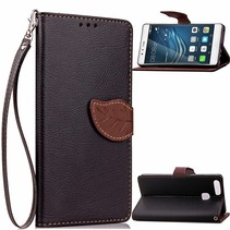 Zwart Blad Design Bookcase Hoesje Huawei P9 Plus