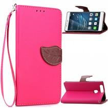 Roze Blad Design Bookcase Hoesje Huawei P9 Plus