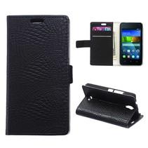 Zwarte krokodillen Bookcase hoes Huawei Y360