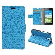 Blauwe cartoons Bookcase hoes Huawei Y360