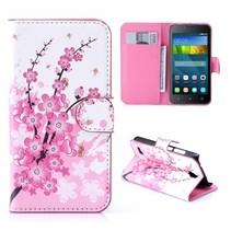 Roze Bloesem Bookcase Hoesje Huawei Y5