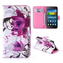 Paarse Bloem Bookcase Hoesje Huawei Y5