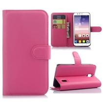 Roze Litchi Bookcase Hoesje Huawei Y625