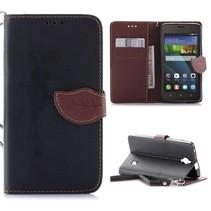 Zwart Blad Design Bookcase Hoesje Huawei Y635