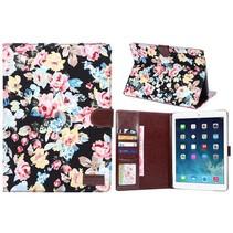Zwart bloemenstof flipstand hoes iPad Air 2