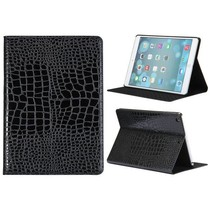 Zwart krokodillenleer cover hoes iPad Air