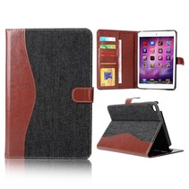 Zwart stof + kunstleer flipstand hoes iPad Mini 4
