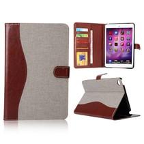 Grijs stof + kunstleer flipstand hoes iPad Mini 4