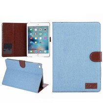 Lichtblauwe jeans flipstand hoes iPad Mini 4