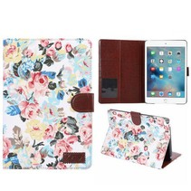 Wit bloemendesign flipstand hoes iPad Mini 4