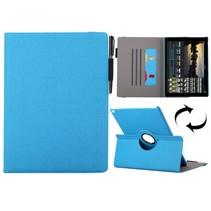 Blauwe 360 graden stoffen draaibare hoes iPad Pro