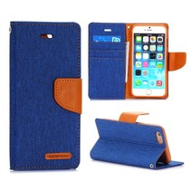 Canvas blauwe Bookcase hoes iPhone 6 / 6s