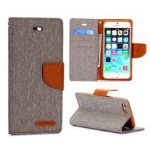 Canvas grijze Bookcase hoes iPhone 6 / 6s