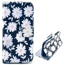 Witte bloemen stijl Bookcase hoesje iPhone 6 / 6s
