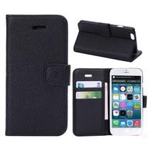 Lychee zwart 3-in-1 Booktype  hoesje iPhone 6 / 6s