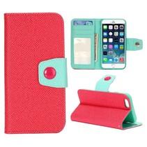 Rood / cyaan Bookcase hoesje iPhone 6 / 6s