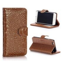 Bruine krokodillen Bookcase hoes iPhone 6 / 6s