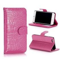 Roze krokodillen Bookcase hoes iPhone 6 / 6s