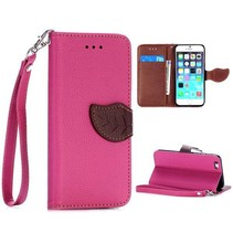 Roze leaf Bookcase hoes iPhone 6 / 6s